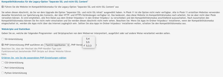 PHP-Versionen unter Plesk auswählen