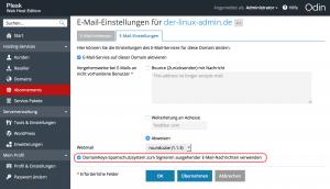 Plesk DKIM für Domain aktivieren